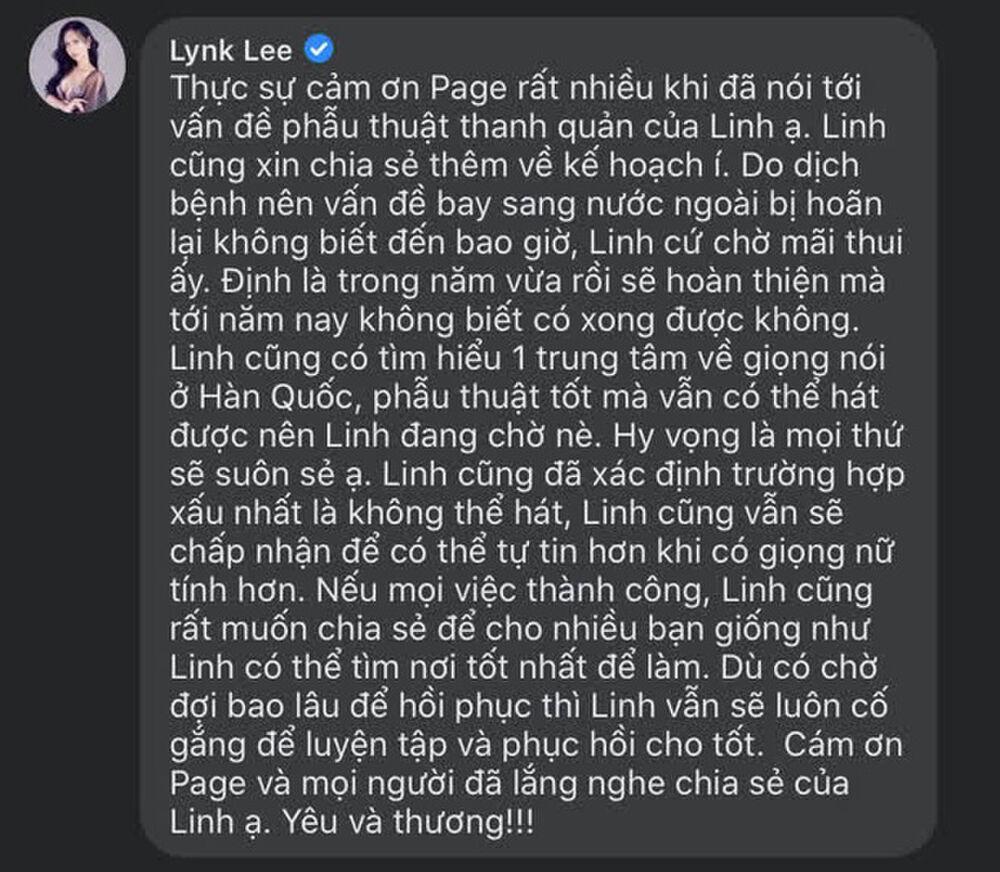 لینک لی که می خواست زنانگی را کامل کند ، با این وضعیت روبرو شد که دیگر نمی تواند آواز بخواند 3