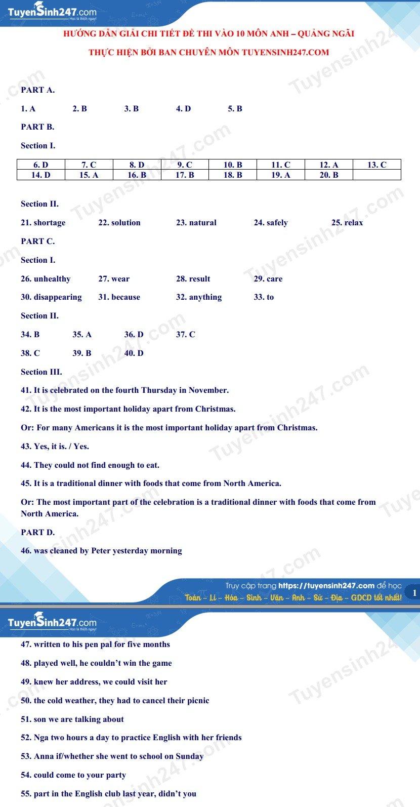 پاسخ های آزمون انگلیسی کلاس 10 در استان کوانگ نگای 2021 5
