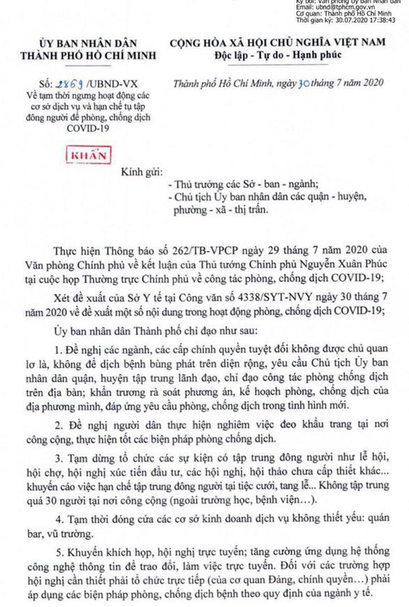 TP.HCM gửi công văn khẩn, yêu cầu cấm tụ tập 30 người, dừng hoạt động quán bar 1