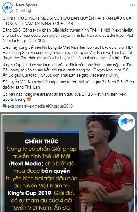 CỰC NÓNG: Next Media chính thức sở hữu bản quyền King's Cup 2019  1