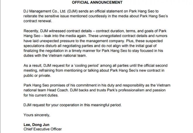 HLV Park Hang Seo chốt ngày ký hợp đồng với bóng đá Việt Nam  1