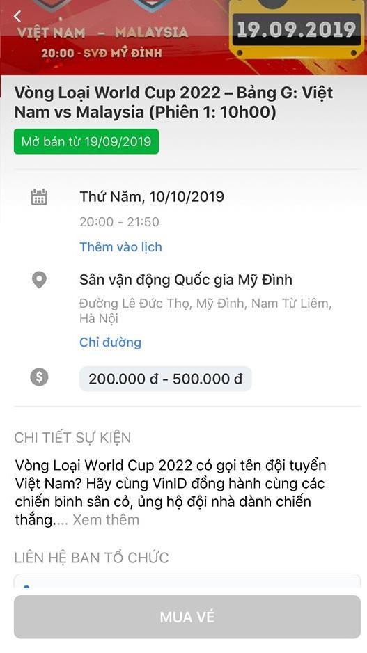 Hướng dẫn mua vé trận Việt Nam vs Malaysia 7