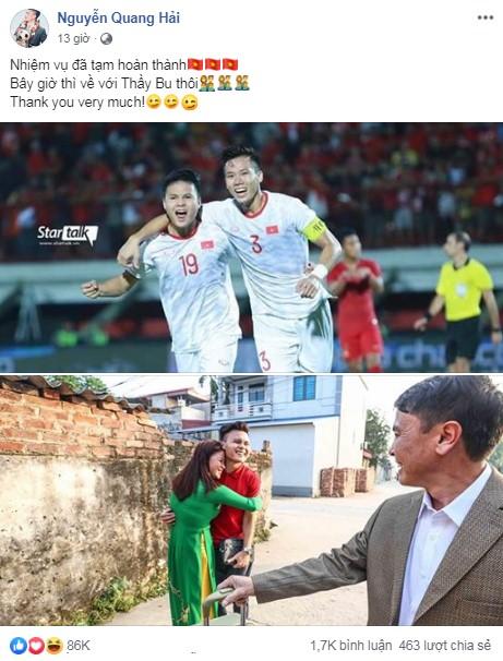 ĐT Việt Nam hoàn thành nhiệm vụ, Quang Hải mong về với 'thầy bu' sau chiến thắng Indonesia 7