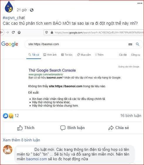 Vì sao người dùng không thể tìm kiếm thông tin về baomoi.com trên Google?  3