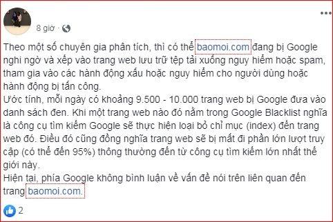 Vì sao người dùng không thể tìm kiếm thông tin về baomoi.com trên Google?  2