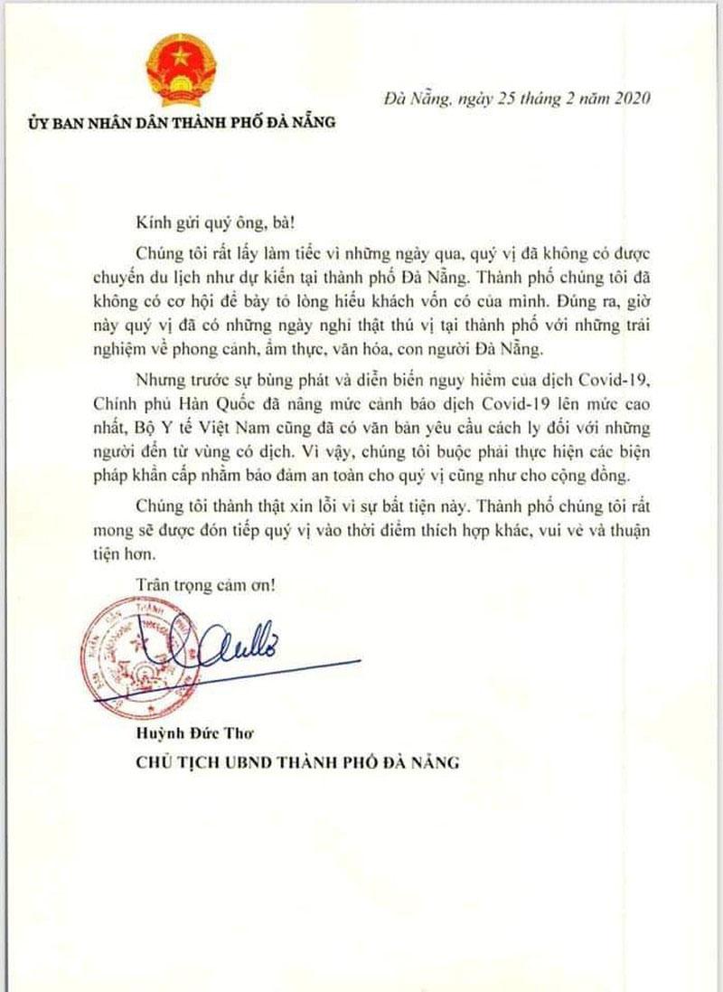 Chủ tịch Đà Nẵng viết thư gửi nhóm du khách Hàn Quốc về nước vì không chịu cách ly 1