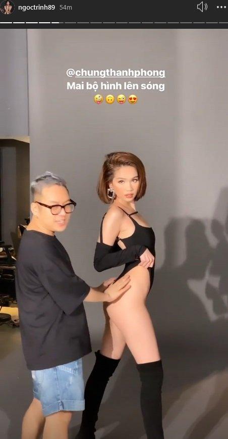 Ngọc Trinh lại tung clip hậu trường 'đốt mắt', Chung Thanh Phong mới gây chú ý 1