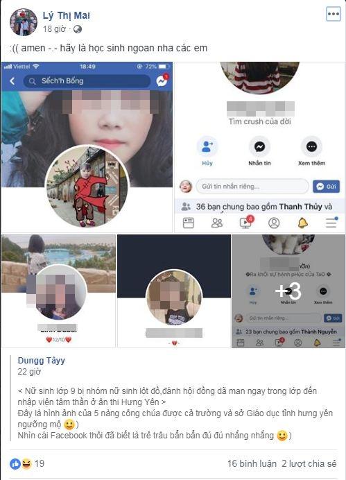 Dân mạng tấn công Facebook của 5 nữ sinh đánh hội đồng bạn ở Hưng Yên 1