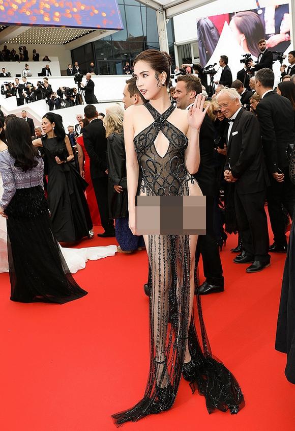 Ngọc Trinh quyết chơi lớn, 'mặc như không' thả dáng trên thảm đỏ Cannes 4