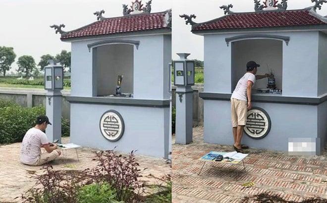 Chàng trai cầm sách vở ra mộ cụ ôn bài trước kỳ thi THPT quốc gia 2019 khiến MXH xôn xao 1